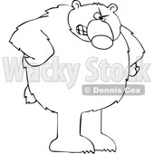 Cartoon Black and White Angry Bear with Hands on Hips © djart #1641080