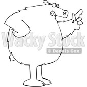 Cartoon Black and White Angry Bear Wagging a Finger © djart #1641081
