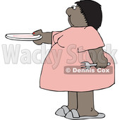 Cartoon Chubby Black Woman Holding out a Plate for Seconds © djart #1641093