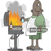 Cartoon Black Man Holding a Salt Shaker and Watching As the Flames Get High on His Bbq Grill © djart #1641096
