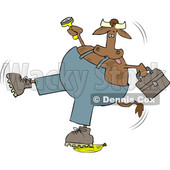 Cartoon Cow Worker Slipping on a Banana Peel © djart #1642109