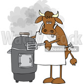 Cartoon Cow by a Smoker © djart #1642110