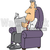 Cartoon White Businessman Reading a Newspaper in a Chair © djart #1643862