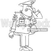 Cartoon Black and White Saluting Military Man © djart #1644268