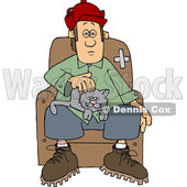 Cartoon Man with a Cat on His Lap © djart #1651135
