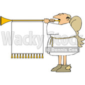 Cartoon Male Christmas Angel Blowing a Horn with a Banner © djart #1655194
