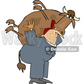 Cartoon White Male Farmer Carrying a Cow © djart #1661610