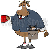 Cartoon Business Cow Holding a Coffee Mug © djart #1661611