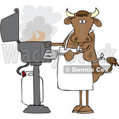 Cartoon Cow Cooking on a BBQ © djart #1661613