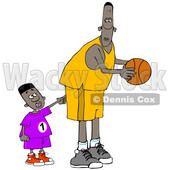 Cartoon Little Boy Poking a Basketball Player © djart #1661615