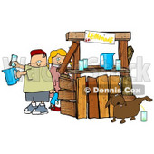 Unaware Boy and Girl Preparing Beverages at Their Lemonade Stand While Their Dog Urinates in a Cup For an Unsuspecting Customer Clipart Image Graphic © djart #16624