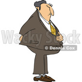 Cartoon Businessman Holding His Stomach and Butt © djart #1662830