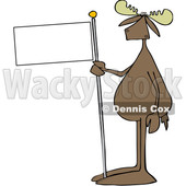 Cartoon Moose Holding a Blank Flag © djart #1665685
