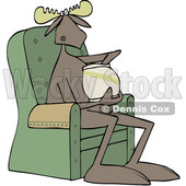 Cartoon Moose Sitting in a Chair and Eating Chips © djart #1670104