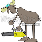 Cartoon Moose Powering up a Chainsaw © djart #1680801