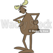 Cartoon Moose Looking Impatiently at a Wrist Watch © djart #1680803