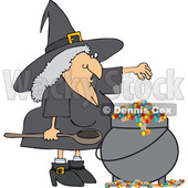 Witch Making a Spell in Her Cauldron © djart #1686710