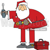 Cartoon Santa Using Tools © djart #1689192