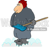 Cartoon Chubby Guy Holding a Snow Shovel © djart #1693811