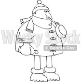 Cartoon Man in Winter Clothes Sipping Water © djart #1695164