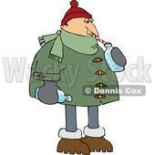 Cartoon Man in Winter Clothes Sipping Water © djart #1695168