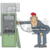 Cartoon HVAC Worker Holding a Stethoscope up to a Furnace © djart #1695878