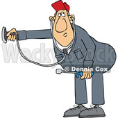 Cartoon HVAC Worker Holding a Stethoscope © djart #1695879