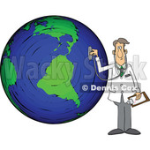 Cartoon Male Doctor Using a Stethoscope on a Globe © djart #1696513