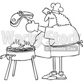 Cartoon Chubby Woman Cooking a Steak on a BBQ Grill © djart #1698617