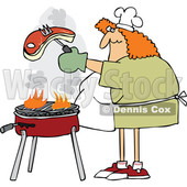 Cartoon Chubby Woman Cooking a Steak on a BBQ Grill © djart #1698621