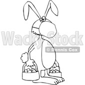 Cartoon Black and White Easter Bunny Wearing a Covid19 Mask © djart #1705739