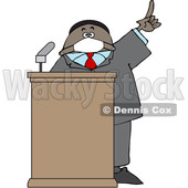 Cartoon Black Politician Wearing a Face Mask and Speaking at a Podium © djart #1706461