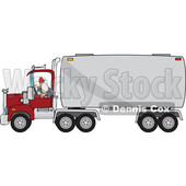 Cartoon Male Trucker Wearing a Mask and Backing up a Truck © djart #1706666