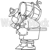 Cartoon Black and White Oktoberfest Man Carrying a Keg and Wearing a Mask © djart #1709443