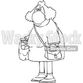 Cartoon Black and White Woman Wearing a Mask and Carrying a Plastic Bag Full of Fruit © djart #1712430
