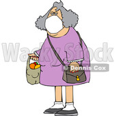 Cartoon Woman Wearing a Mask and Carrying a Plastic Bag Full of Fruit © djart #1712432