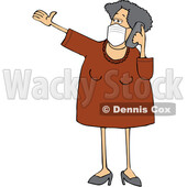 Cartoon Woman Wearing a Mask and Yaking on a Cell Phone © djart #1713654