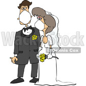 Cartoon Coronavirus Bride and Groom Wearing Masks © djart #1714236