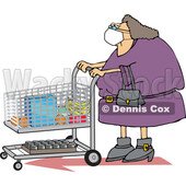 Cartoon Chubby Woman Wearing a Mask and Grocery Shopping © djart #1714239
