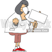 Cartoon Chubby White Woman Holding up a Fist and Blank Sign © djart #1714240