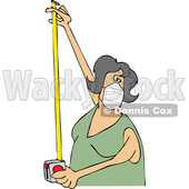 Cartoon Woman Wearing a Mask and Using a Tape Measure © djart #1714241
