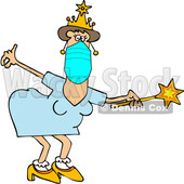 Cartoon Coronavirus Fairy Godmother Wearing a Mask and Holding a Wand © djart #1714415