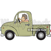 Cartoon Happy Woman Driving a Pickup Truck © djart #1714541