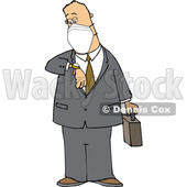 Cartoon Business Man Wearing a Mask and Checking His Watch © djart #1715741
