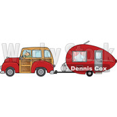 Cartoon Man Driving a Red Woody Car and Pulling a Teardrop Trailer © djart #1716277