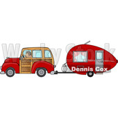Cartoon Woman Driving a Red Woody Car and Pulling a Teardrop Trailer © djart #1716551