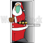 Cartoon Covid Christmas Santa Wearing a Mask in a Doorway © djart #1717411