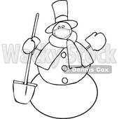 Cartoon Snowman Wearing a Mask and Holding a Shovel © djart #1717507