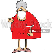 Cartoon Angry Granny Wearing a Mask and Flipping the Bird © djart #1717600