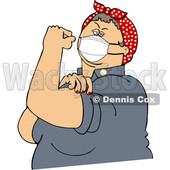 Chubby Rosie the Riveter Flexing and Wearing a Covid Mask © djart #1718387